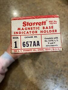 Starrett No 657aa Magnetic Base Indicator Holder Complete Set Usa Made