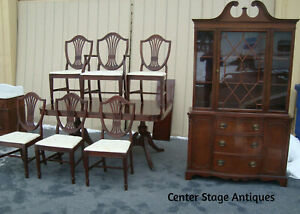 61839 Antique Mahogany Dining Room Set China Table W Leaf 6 Chairs