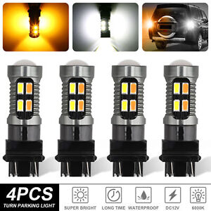 4x 3157 Switchback White Amber Led Turn Signal Parking Drl Light Bulb Error Free