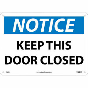 National Marker Keep This Door Closed Sign 10in l X 14in w Rigid Plastic N2rb