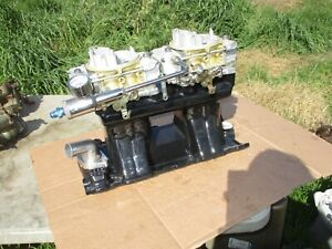 Weiand Chevy 327 350 Sbc Tunnel Ram Intake Manifold Holley Carbs 2x4