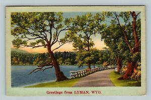Lyman WY Greetings Scenic Lakeview Road Mountains Linen Wyoming c1951 Postcard $7.99