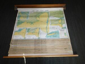 Vintage 1952 54 Denoyer Geppert 12 Large 43 X 32 43 Pull Down School Maps