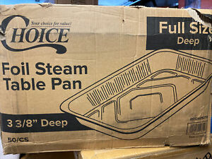 50 case Choice Full Size Foil Deep Steam Table Catering Pan 3 3 8 Inches Deep