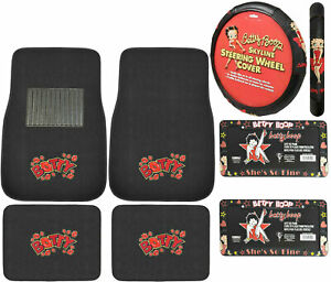 New 7pc Betty Boop Car Truck Front Back Carpet Floor Mats Steering Wheel Cover