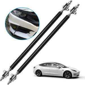 2x Black Adjustable Front Bumper Lip Splitter Spoiler Strut Rod Tie Support Bar