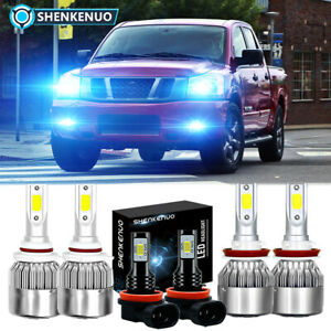 For Nissan Titan 2017 2018 2019 2020 2021 8000k Led Headlights Fog Bulbs Kit