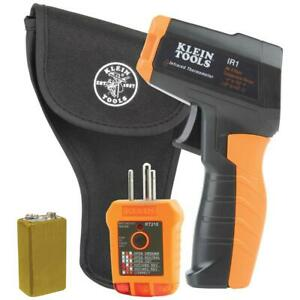 Infrared Thermometer With Gfci Receptacle Tester Includes Pouch And 9v Battery