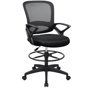 Mid back Black Mesh Ergonomic Drafting Chair With Adjustable Foot Ring Free Ship