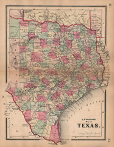 J H Colton S Map Of Texas 1864 Old Antique Vintage Plan Chart