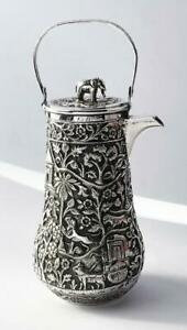Indian Kutch Rare Silver Jug C1880 Elephant Finial