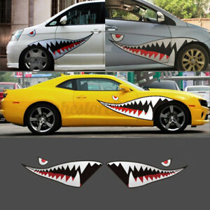 Diy 59 Shark Mouth Tooth Stickers Vinyl Exterior Decal For Car Side Door Fender