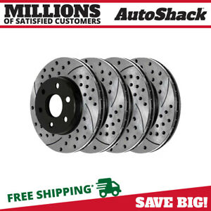Front Rear Drilled Slotted Disc Brake Rotors Set Of 4 For Chevrolet Tahoe 5 7l