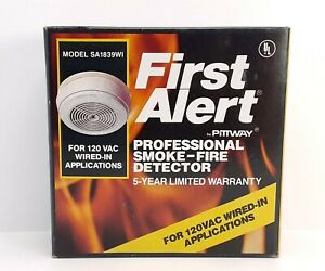 New Vtg 1988 First Alert Professional Smoke Fire Detector Wired Model Sa1839wi