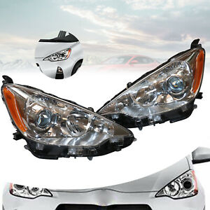 Pair Headlight Set For 2012 2013 2014 Toyota Prius C Left Right With Bulbs 2pc
