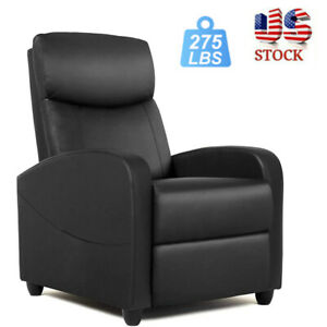 Pu Leather Single Reclining Chair Sofa Home Theater Seating With Pocket Black