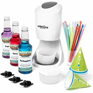 Hawaiian Shaved Ice S900a And Snow Cone Machine With 3 Flavor Syrup Pack Kitchen