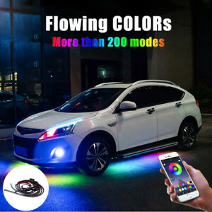Car Rgb Led Strip Underbody Under Glow Neon Light Kit 90 120cm App Control Decor
