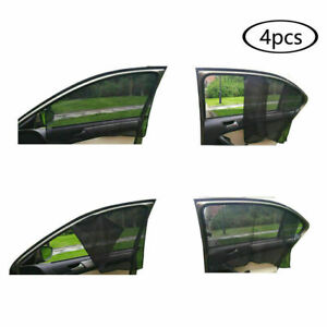 4 Pcs Magnetic Car Sun Shade Uv Protection Front rear Side Window Curtain Black