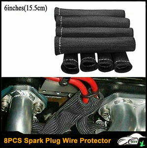 8pcs 2500 Spark Plug Wire Boots Protectors Black Sleeve Heat Shield Cover