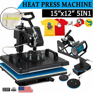 5 In1 Heat Press 12 x15 T shirt mug plate hat Transfer Machine Swing Away