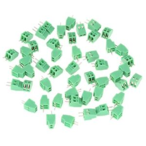 Green Pitch 50x 0 1 2 Pin 2 Way 2 54mm Pcb Screw Terminal Block Connector