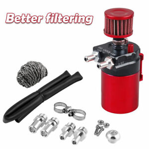 Oil Catch Can Kit Universal Red Breather Baffled Aluminum Reservoir Tank