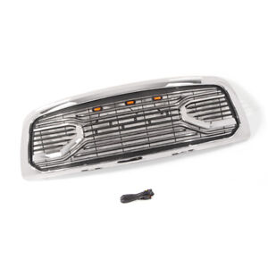 Fit 2009 2012 Dodge Ram 1500 Grille Big Horn Style Chrome Grille W letters W led