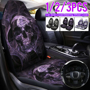 Skull Print Universal Comfortable Car Front Seat Cover Pad Protector For