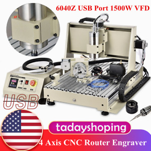 Usb 6040z 4 Axis Cnc Router Engraver 1 5kw Metal Carving Drill Engraving Machine