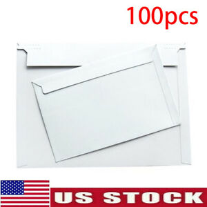 Pack Of 100 Rigid Mailers Paper Envelopes Bags W self adhesive Strip Us Shipping