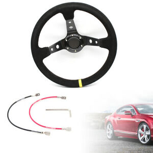 Racing 14 Suede Leather Steering Wheel Deep Dish 350mm 6 bolt Horn Button Black
