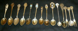 14 Antique Vintage Collector Spoon Fork Lot 925 Sterling Silver Mexico Not Scrap