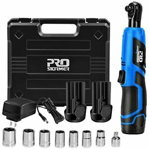 3 8 Cordless Ratchet Wrench Set Prostormer 12v Electric Tool Kit With 2 pack
