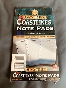 Day timer Note Pads 2 Pads Of 24 Sheets Coastlines Pirtabke Size