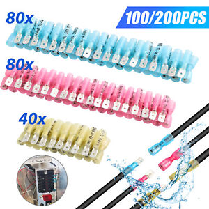 220 100pc Electrical Heat Shrink Male Female Spade Wire Connectors Terminals Set