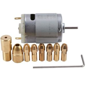 1pc Dc 12v 500ma Mirco Motor With 6pcs 0 5 3 2mm Drill Collet Electric Pcb T6w5