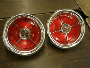 Nos Oem Ford 1963 Galaxie 500 Xl Tail Light Lamp Bezels Rings Housing Lenses
