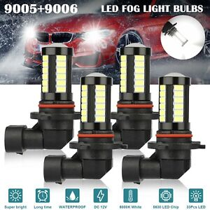 4x 9005 9006 Led Combo Headlight Bulb High Low Beam Kit 6000k Super Bright White