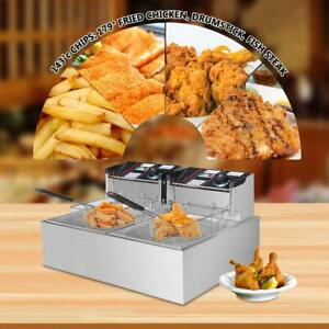 3000w 6l Portable Electric Deep Fryer Dual Tank Commercial Restaurant Kitchen Us