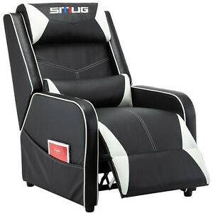 Gaming Recliner Chair Racing Leather Single Sofa Home Theater Seat White