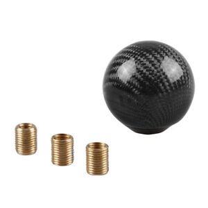 Gear Shift Knob Round Ball Shape Black Carbon Fiber Car With Adapters Universal