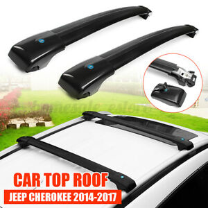 Car Top Roof Rack Cross Luggage Bar With Key Lock Black For Jeep Cherokee 14 19