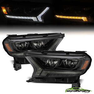 Fit 2019 2021 Ford Ranger Led Signal Alpha Black Pro series Projector Headlights