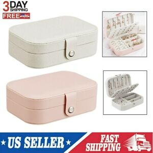 2 Layer Portable Earring Ring Jewelry Display Storage Box Case Travel Organizer