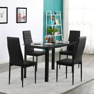 4 Piece Pu Leather Chair Or Dinner Table Kitchen Dining Room Breakfast Furniture