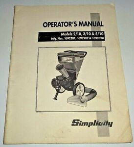 Simplicity 2 10 3 10 5 10 Chipper Shredder Operators Manual Original 8 93