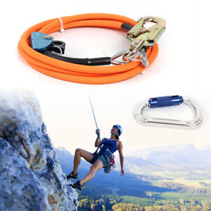 Steel Wire Core Lanyard Kit With Hook Carabineer Climbers Tree Climbing Safety