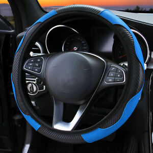 15 38cm Blue Car Steering Wheel Cover Leather Anti Slip Accessories Universal