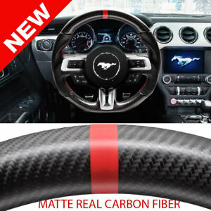 Handkraftd 15 17 Ford Mustang Steering Wheel matte Real Carbon Fiber Red Stitch